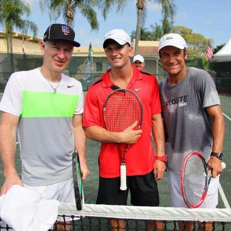 Brandon Flanagan with tennis legends, John McEnroe and Mats Wilander