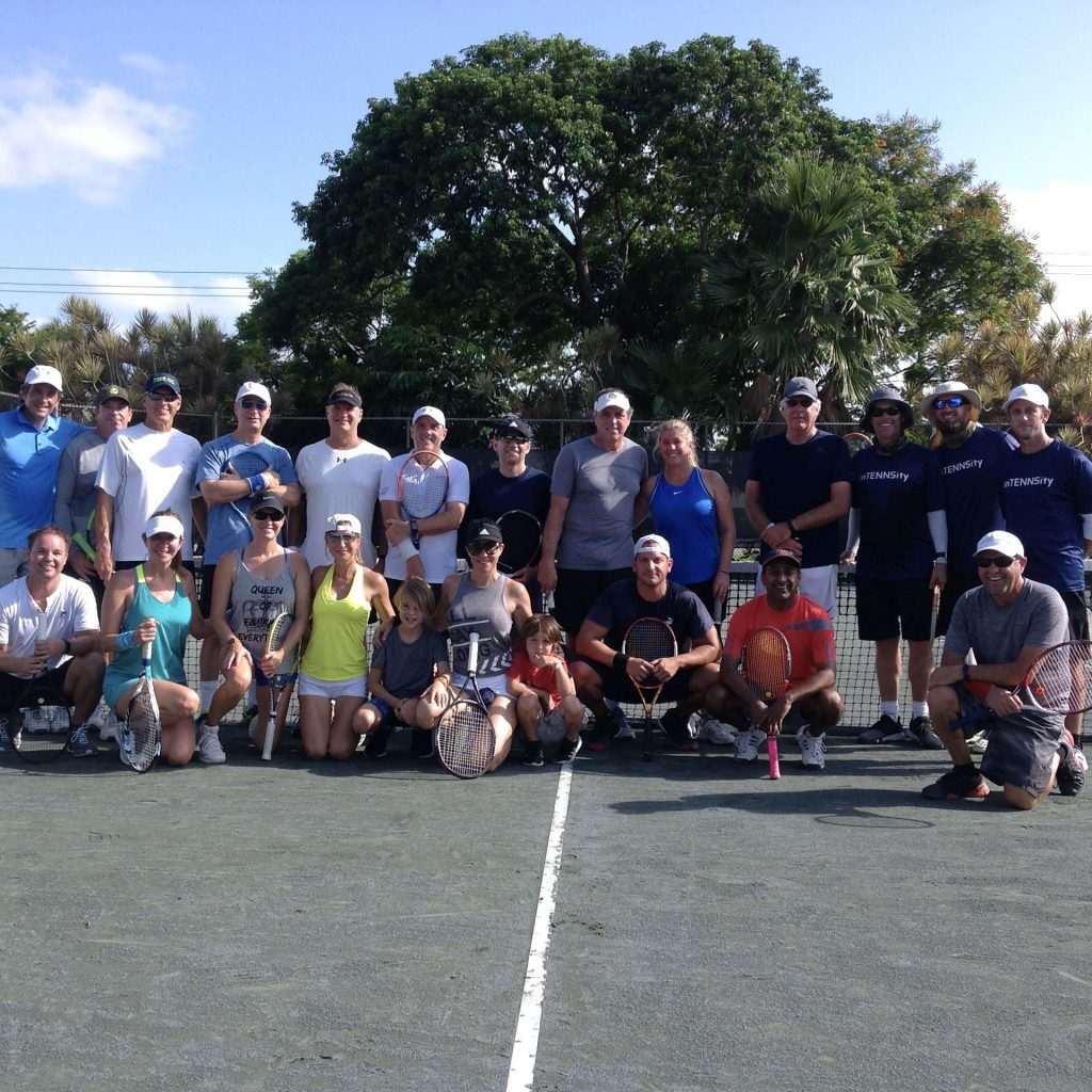 Group of adult tennis players